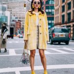 Pastel Yellow Fur Coat And Silver Heels   With Yellow Socks Outfit