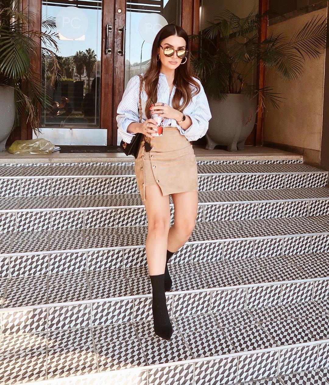 Pinstripe Shirt And Suede Mini Skirt   Outfit