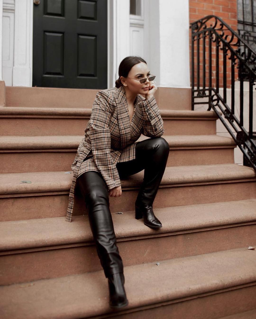Plaid Belted Coat And Black Leather   Skinny Pants Outfit