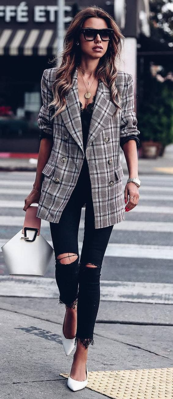 Plaid Coat, Black Top And Ripped Jeans   Outfit