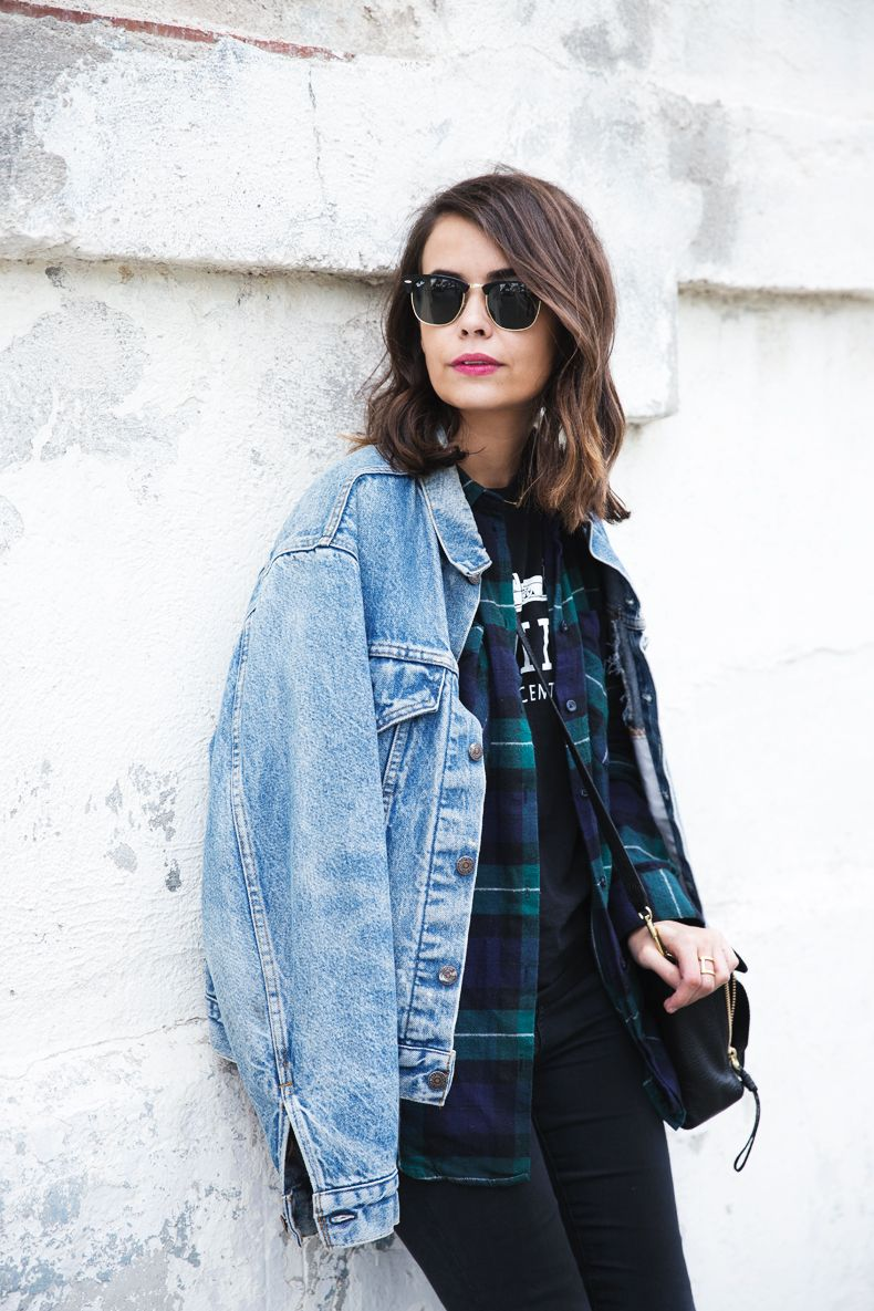 Plaid Coat, Oversized Sweater And Denim   Outfit