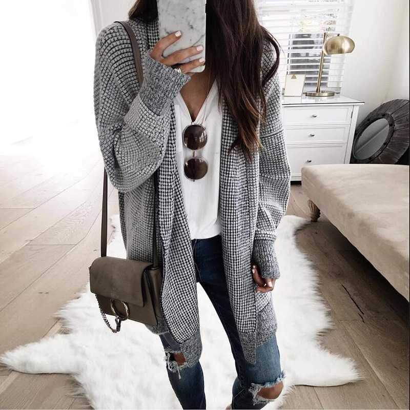 Plaid Coat With White Ribbed Knit Sweater   Outfit