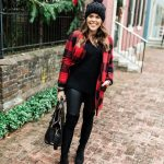 Plaid Coats, Leather Pants And Pullover   Outfit