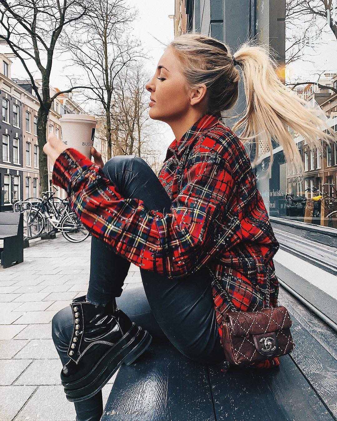 Plaid Red Shirt, Black Leather Pants And   Platform Leather Boots Outfit