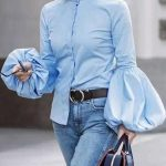 Puff Long Sleeve Blouse With Cuffed Jeans   Outfit