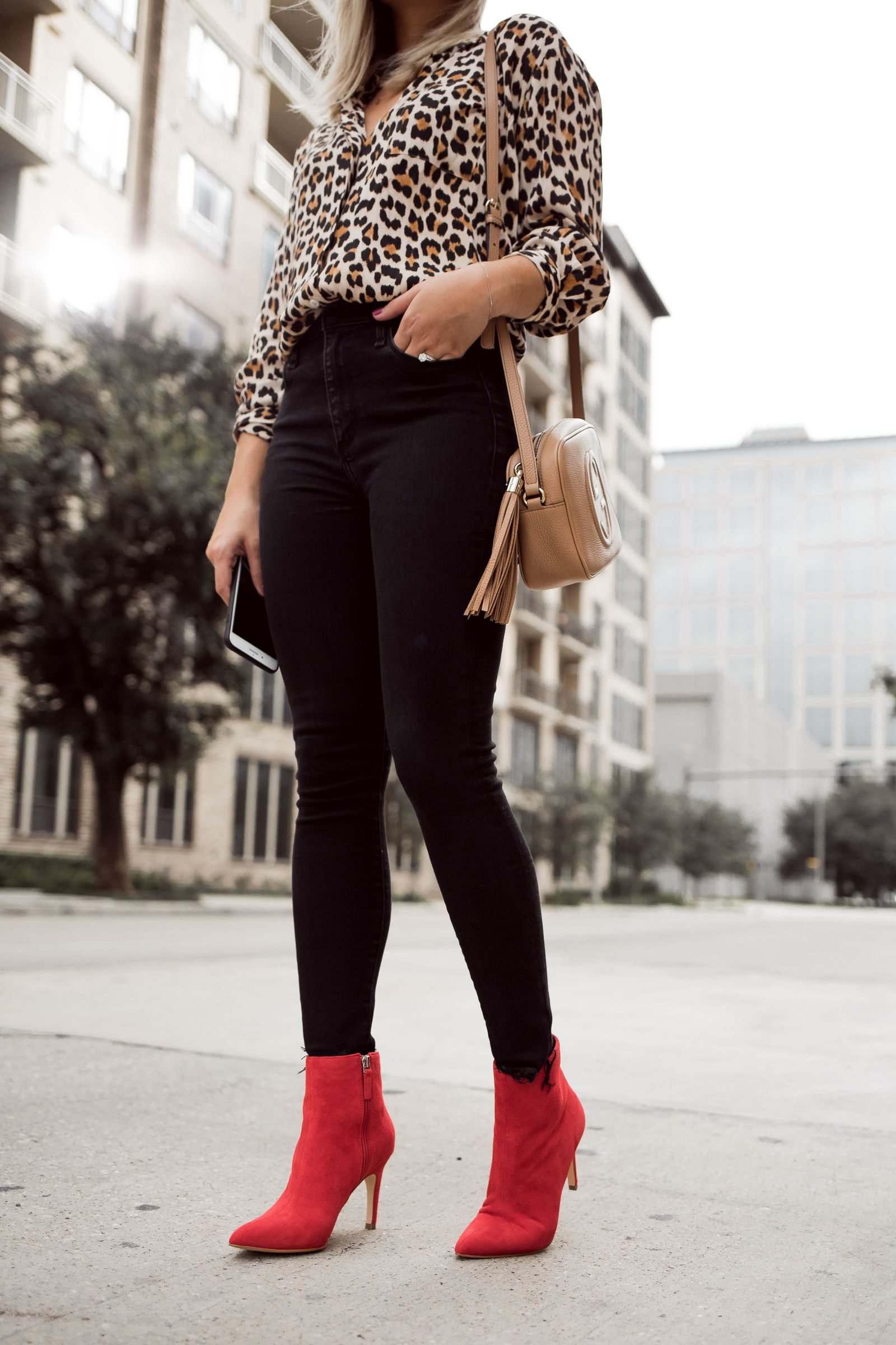 Red Denim Outfit And Heeled Ankle Boots   Outfits