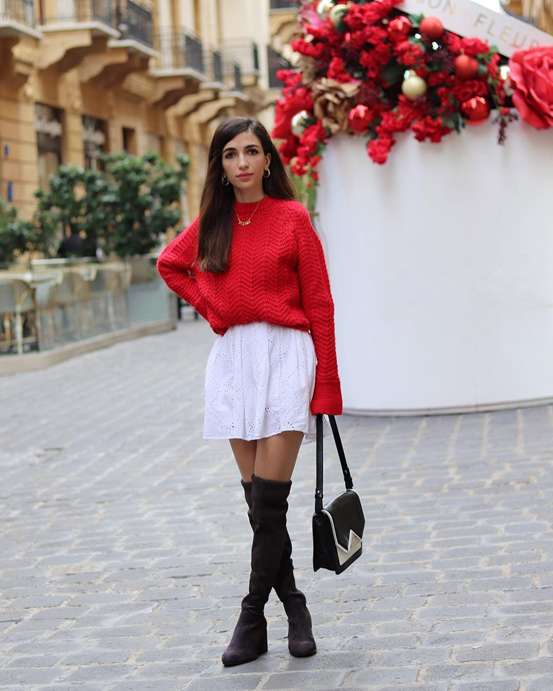 Red Sweater Over White Shirtdress With   Black OTK Boots Outfit
