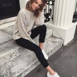 Relaxed Sweater, Slim Pants In Black And   White Sneakers Outfit