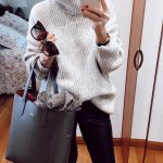 Ribbed Knit Sweater In White And Black   Leather Pants For Fall