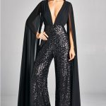 Sequined Black Jumpsuit With Wide Leg   Pants
