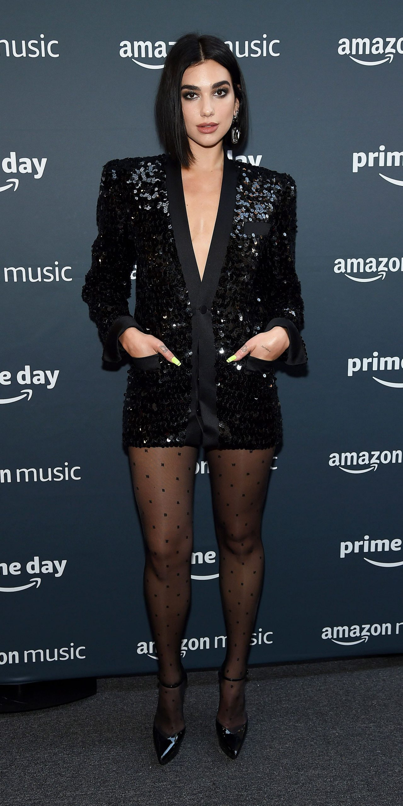 Sequined Blazer Dress And Shiny Tights   Outfit
