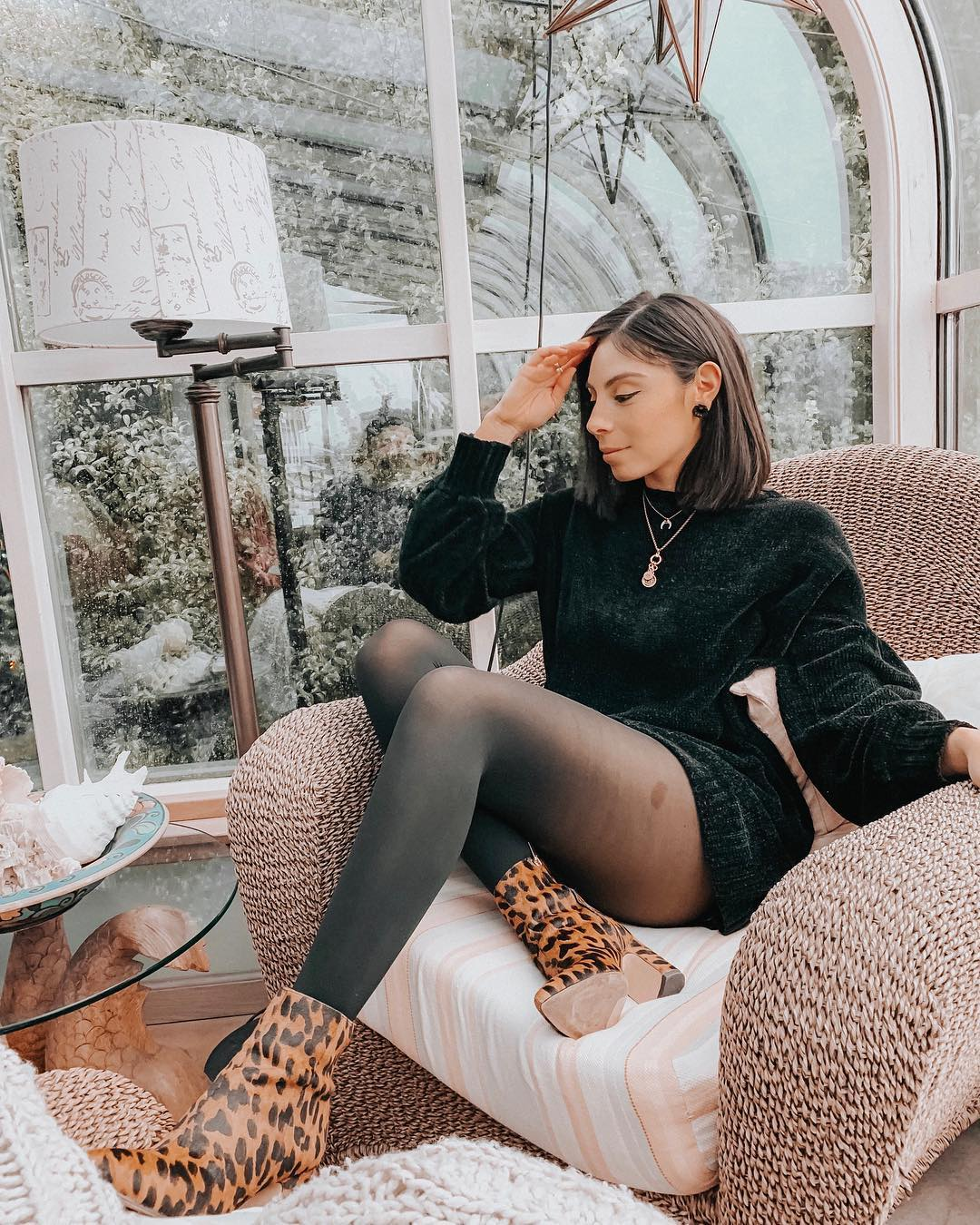 Shiny Black Sweater Dress, Tights And   Leopard Print Ankle Boots For Fall
