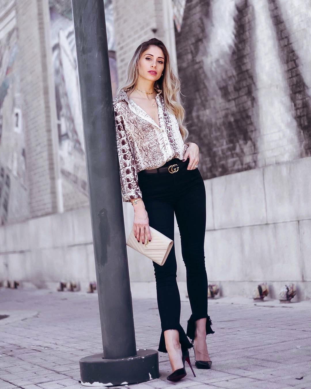 Snakeskin Print Shirt With Black Jeans   Outfit