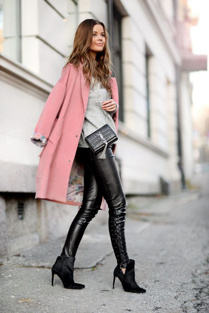 Statement Outerwear And Leather Pants   Outfit