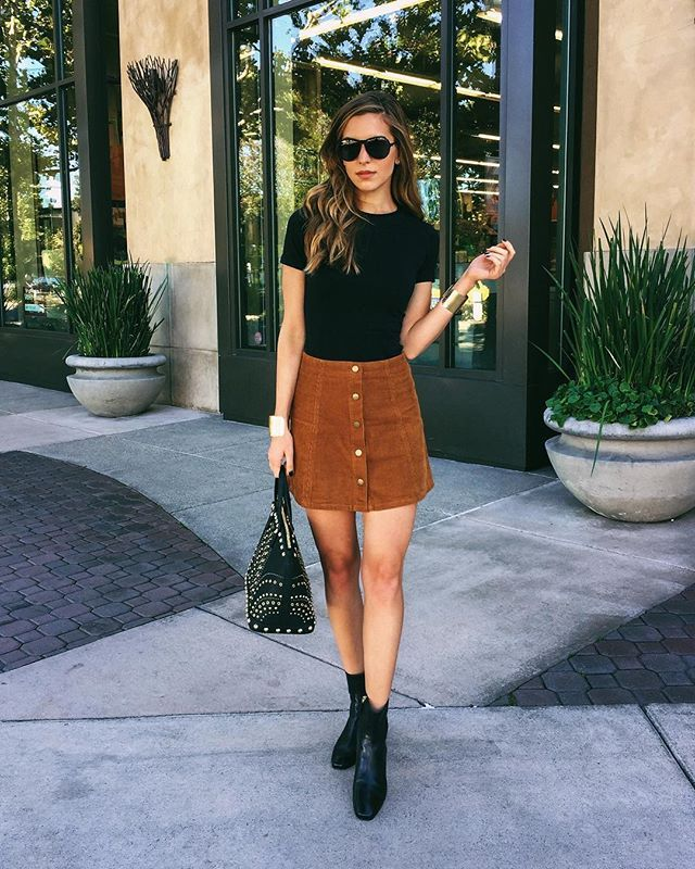 Sweater And Corduroy Skirt Outfit