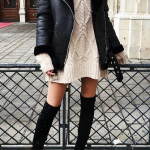 Sweater Dresses And OTK Boots Outfit