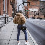 Teddy Bear Jacket With Blue Jeans And   White Ugly Sneakers Outfit