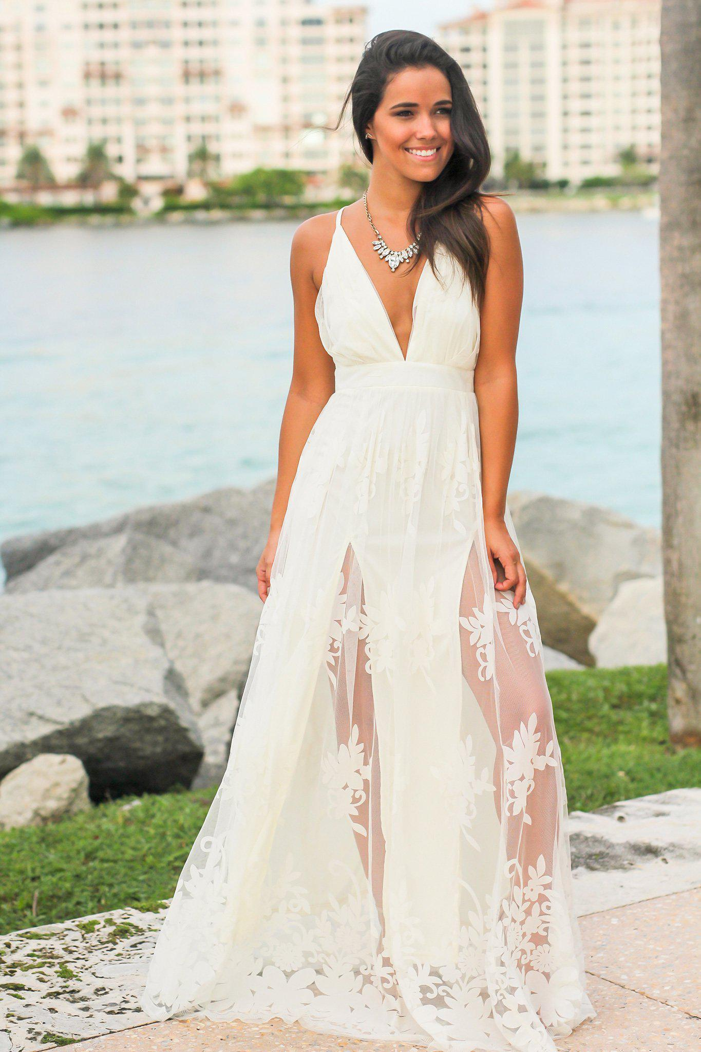 Tulle Maxi Dress In White Outfit