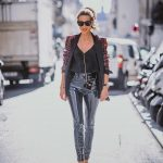 Velour Blazer And Glossy Leather Pants   Outfit