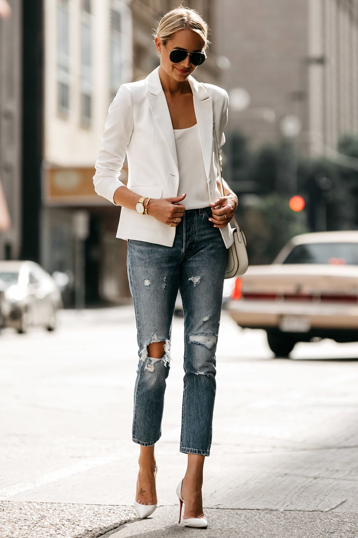 White Blazer And Blue Jeans Outfit