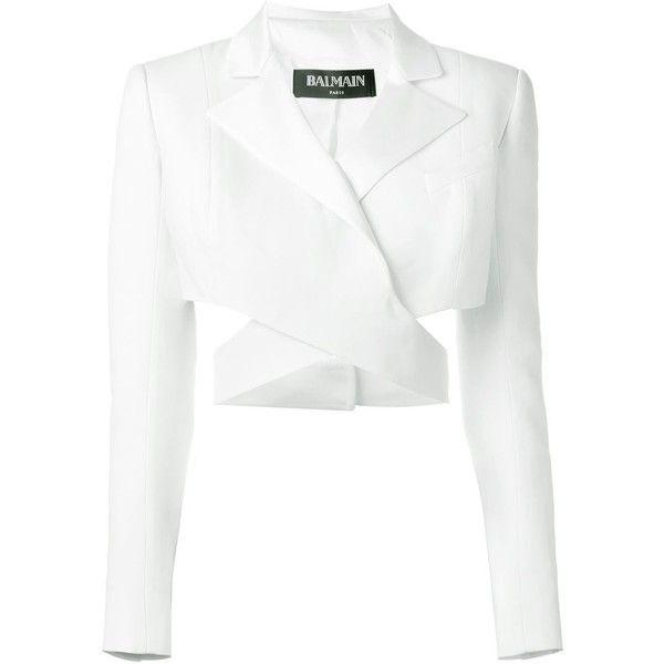 White Blazer With White Crop Top