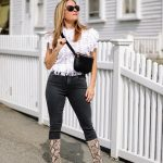 White Crochet Top With Black Skinny Jeans