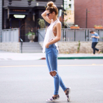 White Crop Tank Top And Blue Jeans With   White Trainers Outfit