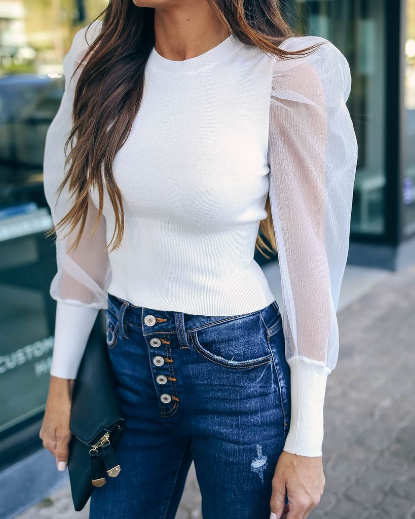 White Puff Long Sleeve Top Outfit