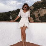 White Ruffled Dress And Strappy Sandals