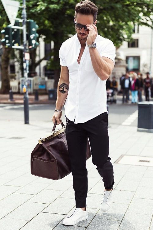 White Shirt And Black Pants For Summer