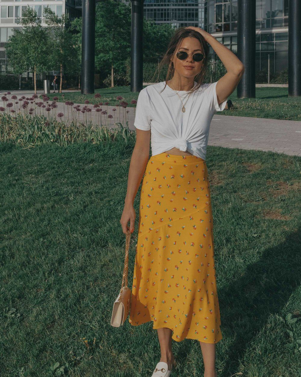 White Silk Blouse And Yellow Midi Skirt   For Summer