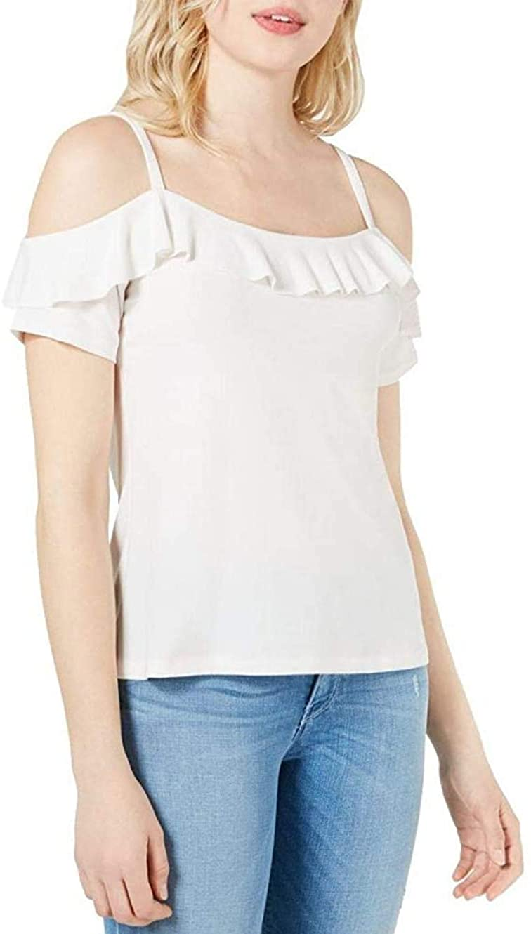 White Sleeveless Top With Ruffled   Shoulders