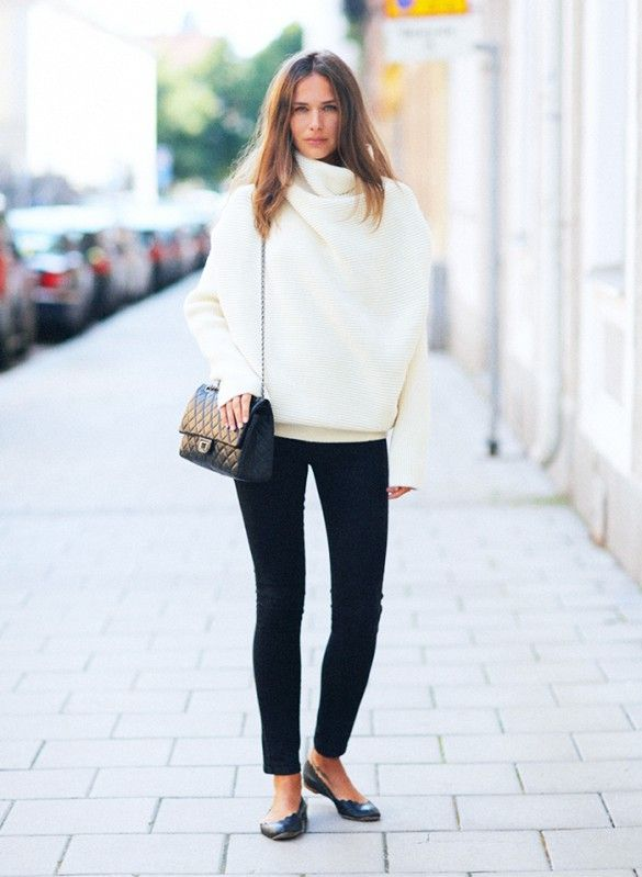 White Sweater And Black Pants