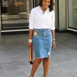 White Tee And Denim Skirt