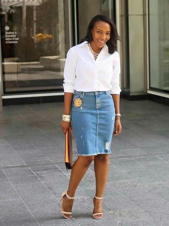 White Tee And Denim Skirt