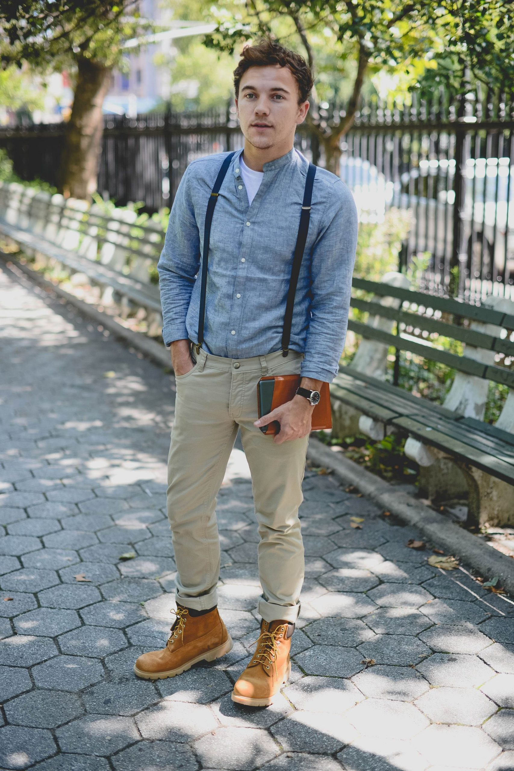 White Tee, Suspenders, Jeans And Boots